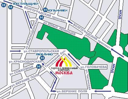 Схема проезда от ТВЦ Москва